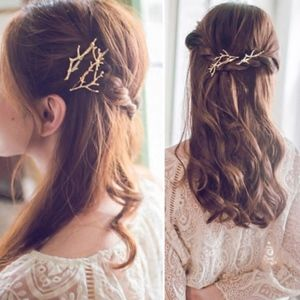 'Enchanted Tree' Golden Branch 2-piece Hair Pin